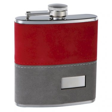 """6oz 2-Tone """"Fuzzy"""" Hip Flask with Engraving / Free Funnel included"""