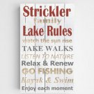 Personalized Lake Rules Canvas Sign - 4 Sign Options -