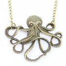 Steam Punk Octopus Antiqued Bronze Necklace w/ 28 inch Long Chain