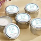 He Asked, She Said Yes Wedding Personalized Travel Candle -(24) Wedding Favor