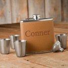 Hide Stitch Flask & Shot Glass Gift Box Set - Free Personalization