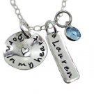 Born in my heart Adoption Necklace with Name Charm (sterling silver)