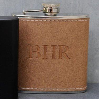 Tan Hide-Stitched Flask - Free Personalization