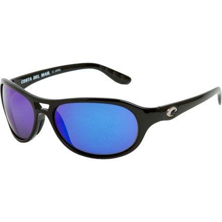 Costa Del Mar Pumphouse Polarized Sunglasses - 400 Glass Black/Blue Mirror
