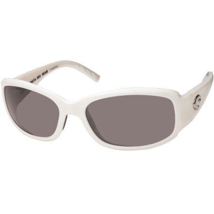Costa Del Mar Vela 400 Glass Polarized Sunglasses - White/Dark Grey