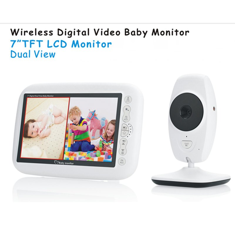 "Wireless Video Baby Monitor with 7.0"" Large LCD Screen and Night Vision"