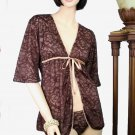 Belabumbum Fleur Lace Short Fully Lined Wrap Robe S/M (Cafe)