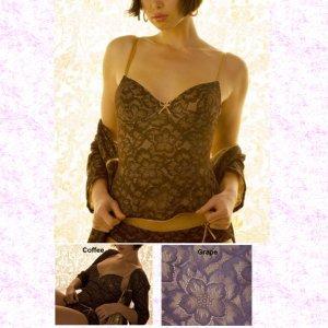BELABUMBUM FL05 Fleur Lace Lounge Underwire Corset Cami M Coffee