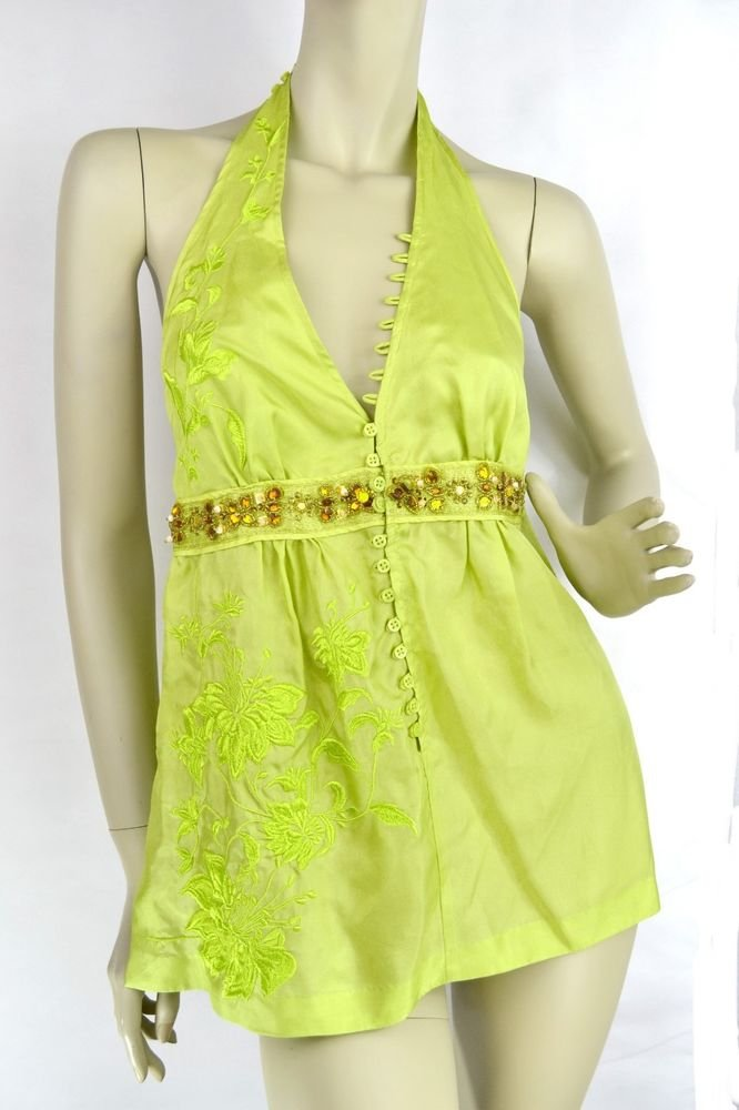 $99 New VICTORIA'S SECRET Embellished Jeweled Silk Halter Top Tunic XXS