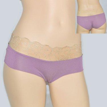 $25 New BELABUMBUM Opulent Filigree Lace Jersey Knit Cheeky Panties S M L Mauve