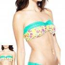 2 New BIATTA Brooke Stretch Cotton Lace Bandeau Bralette Top Wireless Bras M L