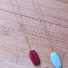 New INSPIRED LIFE Oval Stone Pendant Long Necklace With Gold Tone Chain Womens