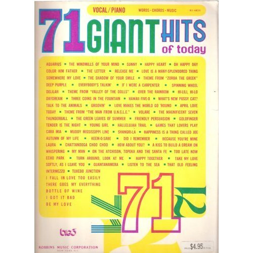 71 Giant Hits of Today (Sheet Music Book - WORDS, CHORDS, MUSIC)
