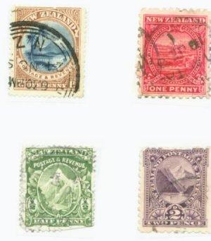 New Zealand Scott #84 85 86 90  4 vars. Used Stamps