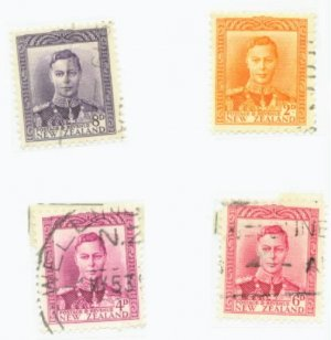 New Zealand Scott #259,260,262,263  4 Vars. Used Stamp