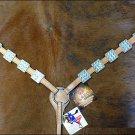 NEW HILASON LEATHER HORSE BREAST COLLAR WESTERN W/ BLING BLUE CRYSTAL CONCHOS