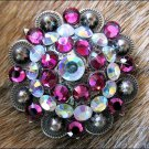 CN029F- 2 AB PINK RHINESTONE  CONCHOS CRYSTAL RODEO BLING HEADSTALL TACK COWGIRL