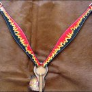 HILASON WESTERN HAND PAINT LEATHER HORSE BREAST COLLAR - BLACK W/ FLAMES S475