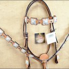 HILASON WESTERN LEATHER HORSE BRIDLE HEADSTALL BREAST COLLAR LIGHT OIL CONCHO C8
