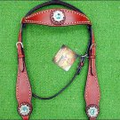 NEW HILASON WESTERN LEATHER HORSE BRIDLE HEADSTALL CHERRY TURQUOISE CONCHO S435