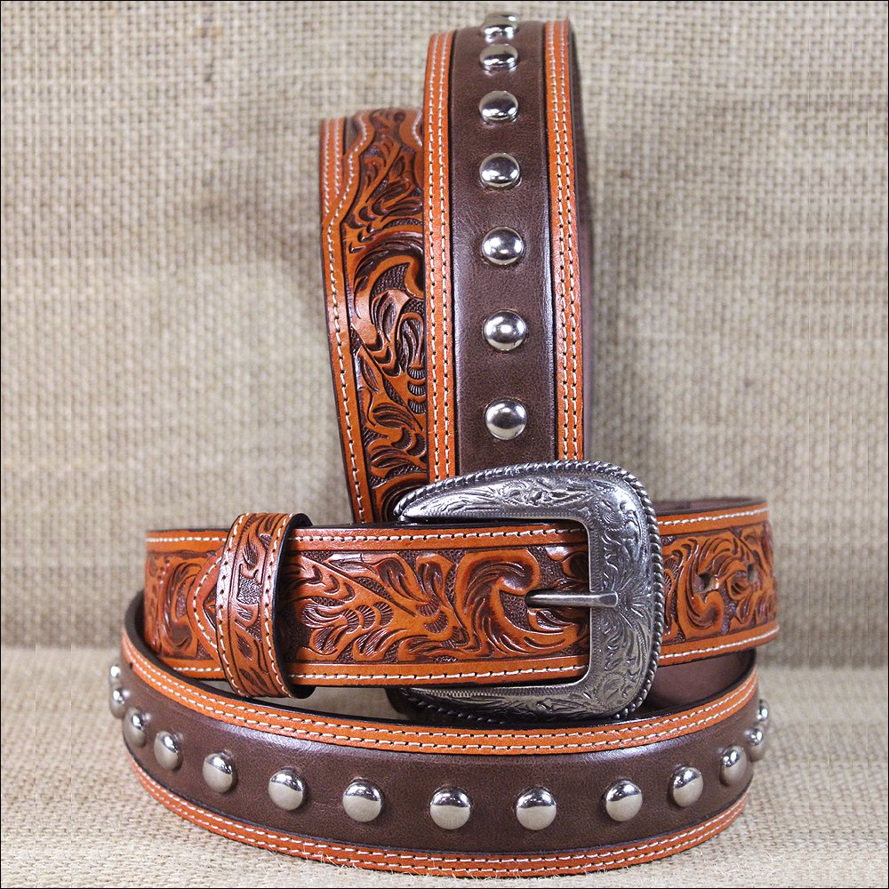"""40 X 1 1/2"""" 3D NATURAL MEN'S WESTERN FASHION LEATHER BELT W/ SILVER STUDS"""