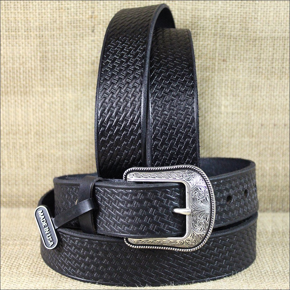 "42 X 1 1/2"" 3D BLACK MENS WESTERN FASHION LEATHER BELT REMOVABLE SILVER BUCKLE"