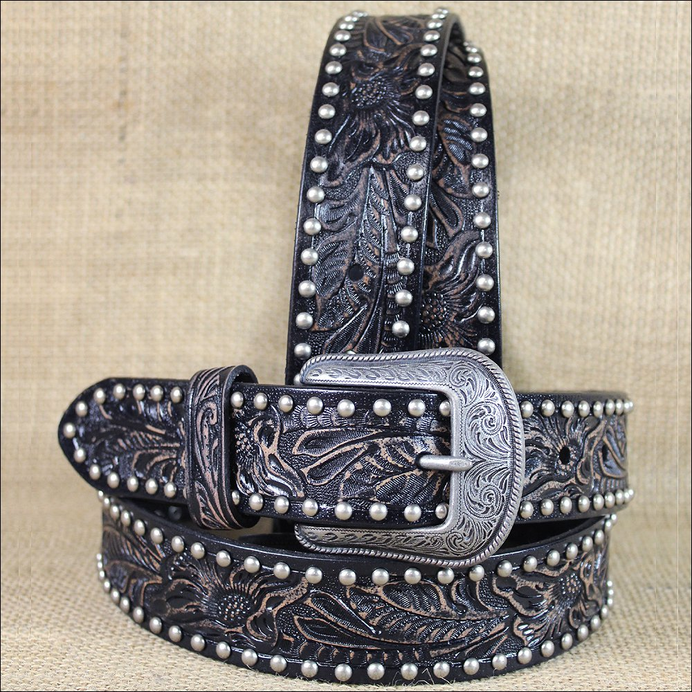 "34x1 1/2"" 3D NATURAL FLORAL MENS WESTERN FASHION LEATHER BELT SILVER BUCKLE"