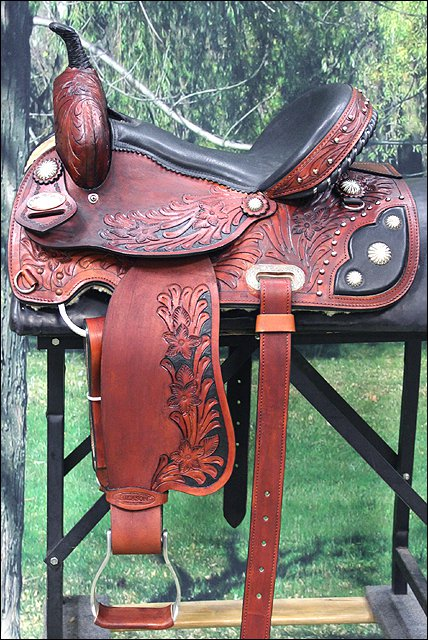 "OS203ROM-15"" HILASON WESTERN BARREL RACING TRAIL PLEASURE LEATHER HORSE SADDLE"
