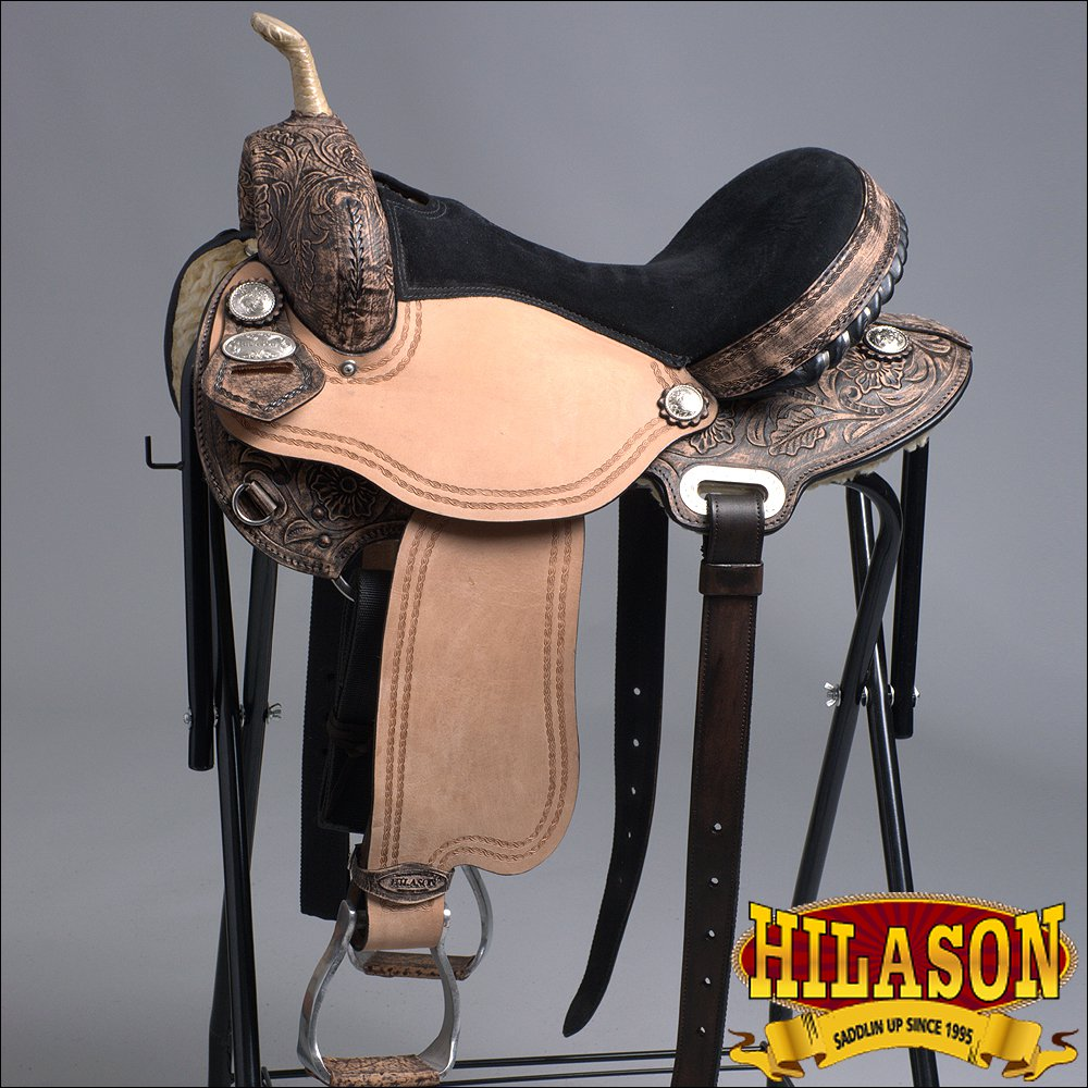 "TT205DBRO 15"" HILASON WESTERN FLEX TREE BARREL RACING TRAIL RIDING HORSE SADDLE"