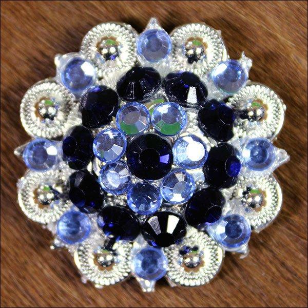 SET OF 2 MONAQ BLUE BLACK CRYSTALS BERRY CONCHO RHINESTONE HEADSTALL SADDLE
