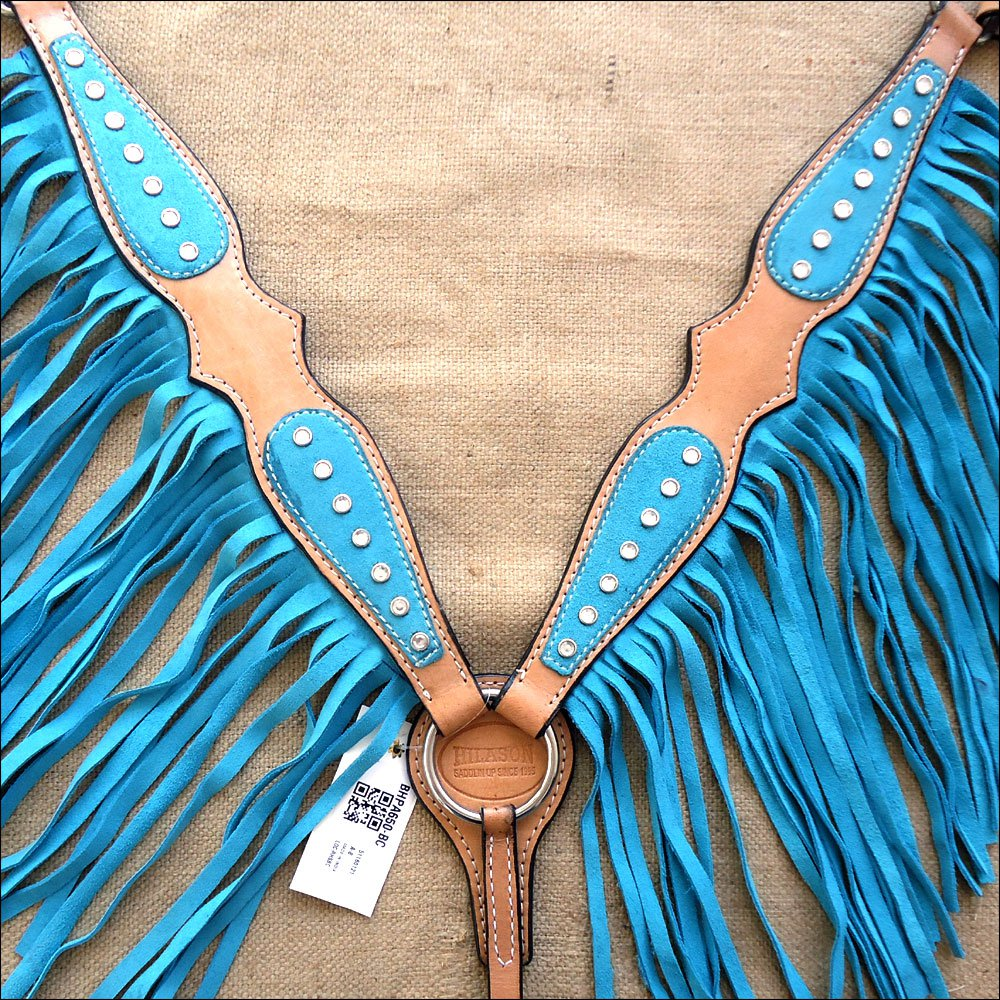 HILASON WESTERN LEATHER BREAST COLLAR TAN TURQUOISE w/ FRINGES