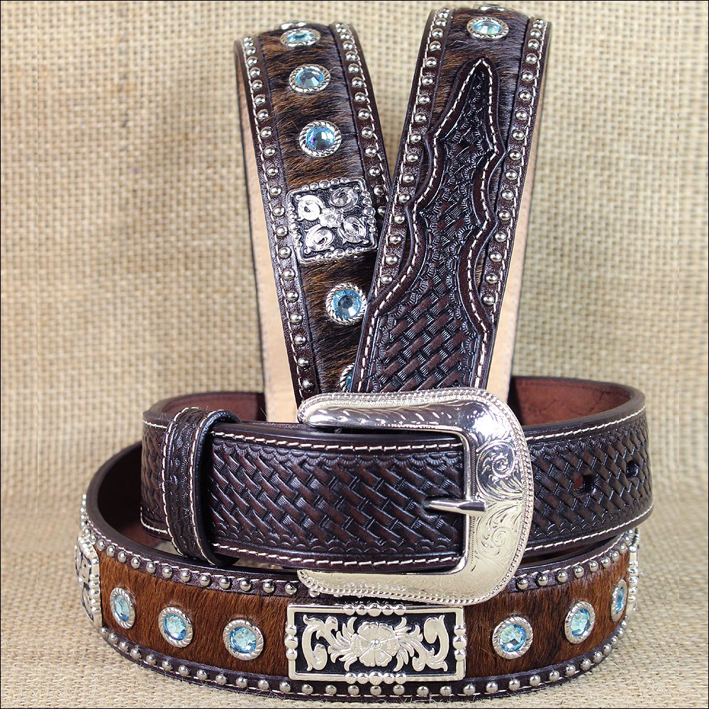 """44 X 1 1/2"""" 3D BROWN MENS BLUE CRYSTELS WESTERN FASHION LEATHER HAIR ON BELT"""