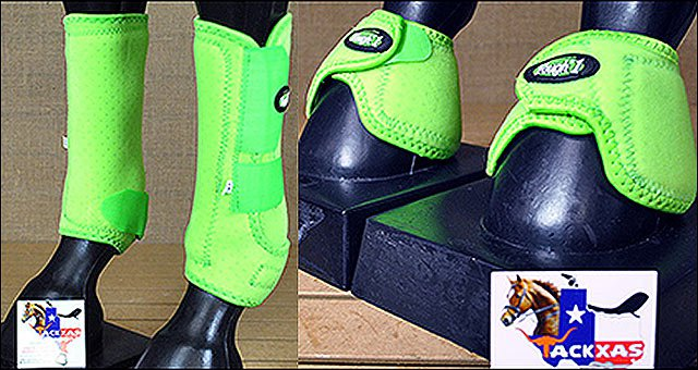 MEDIUM TOUGH1 FRONT LEG VENTED HORSE SPLINT SPORTS BELL BOOTS GREEN