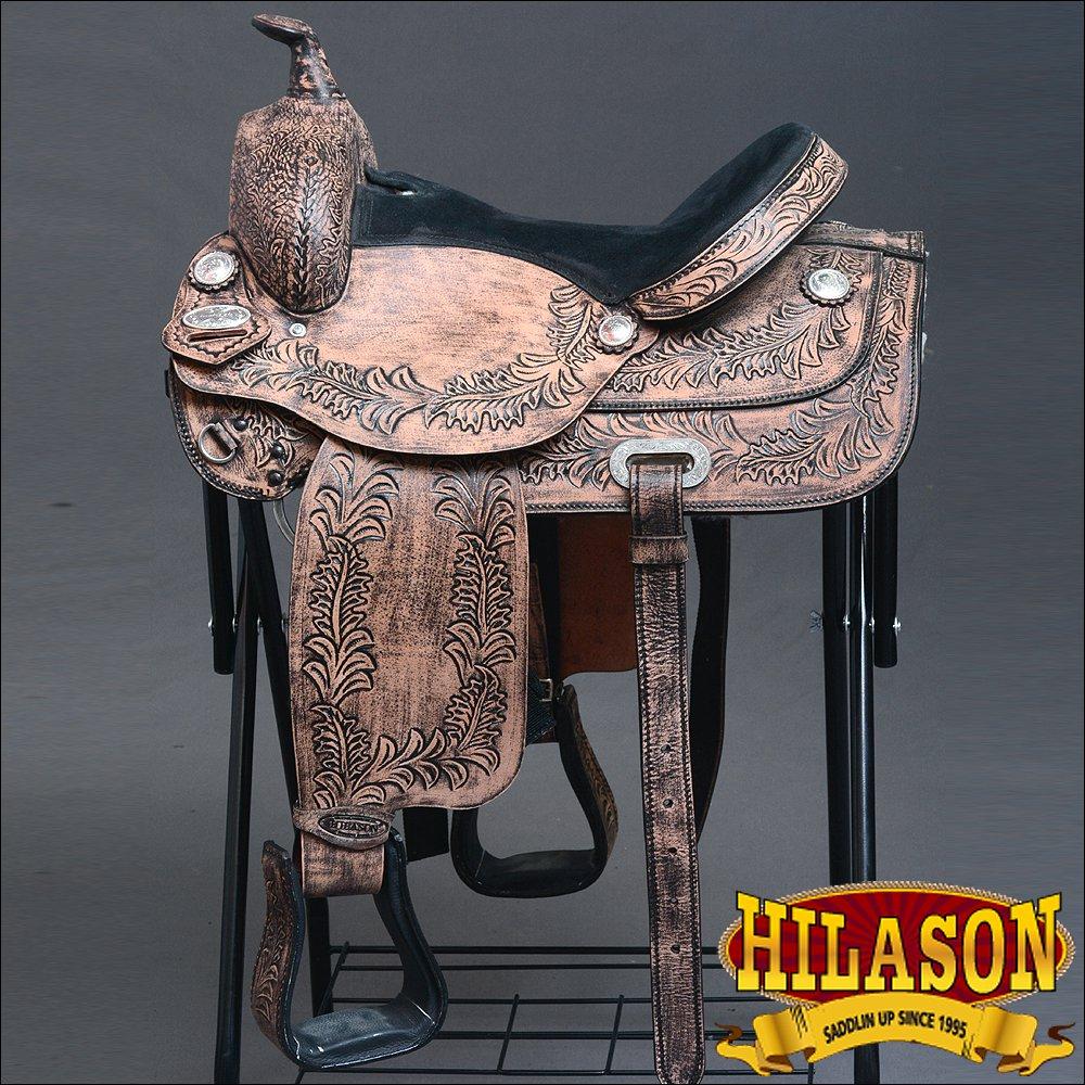 "202RO HILASON WIDE GULLET DRAFT WESTERN TRAIL ENDURANCE HORSE SADDLE 16"" 17"" 18"""