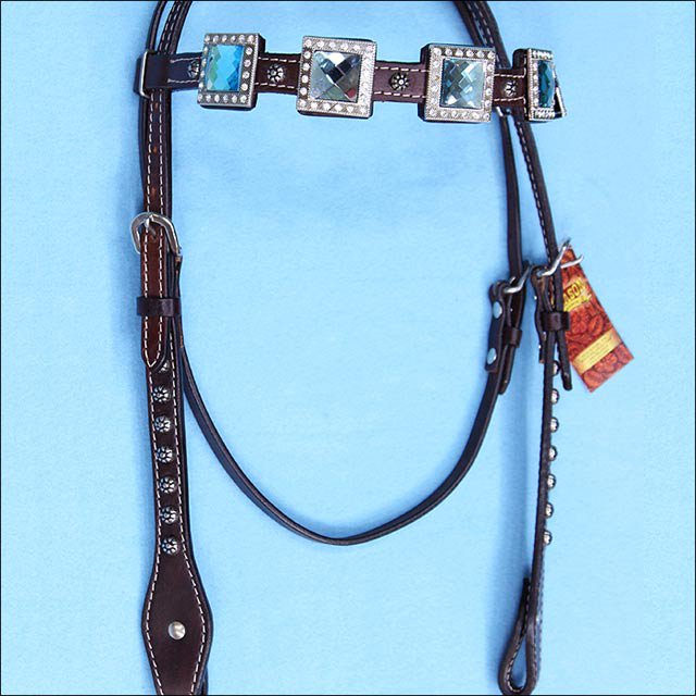 HILASON WESTERN LEATHER HORSE HEADSTALL BRIDLE BROWN BLUE BLING CONCHO