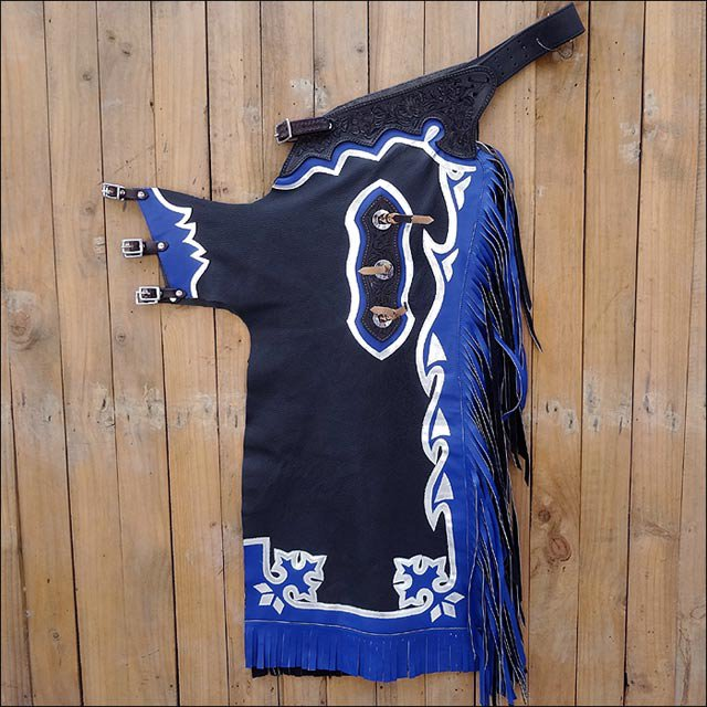F54 HILASON BULL RIDING SMOOTH LEATHER PRO RODEO WESTERN CHAPS BLACK BLUE WHITE