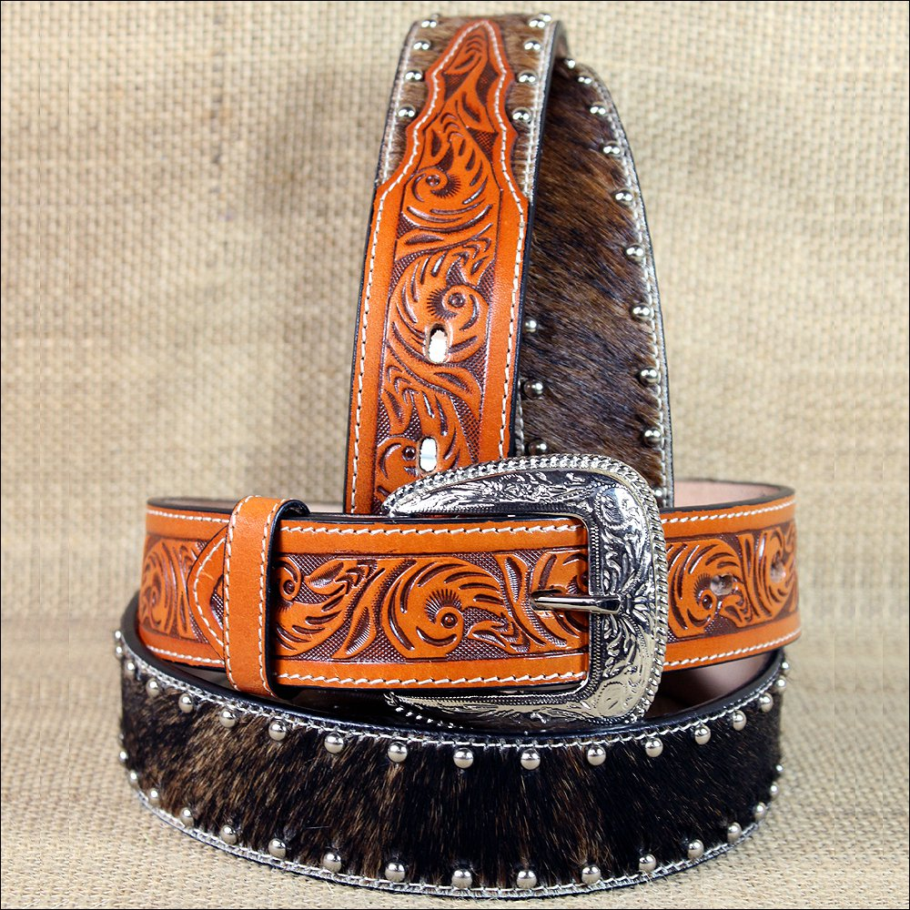 "34 x 1 1/2"" 3D NATURAL MENS FLORAL WESTERN FASHION LEATHER HAIR ON BELT"