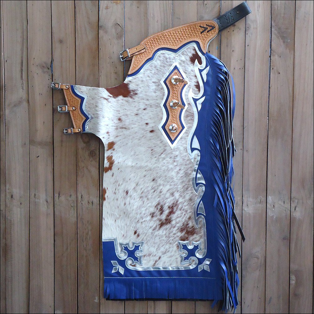 CH830V1-F HILASON BULL RIDING LIGHT NATURAL HAIR ON LEATHER RODEO CHAPS