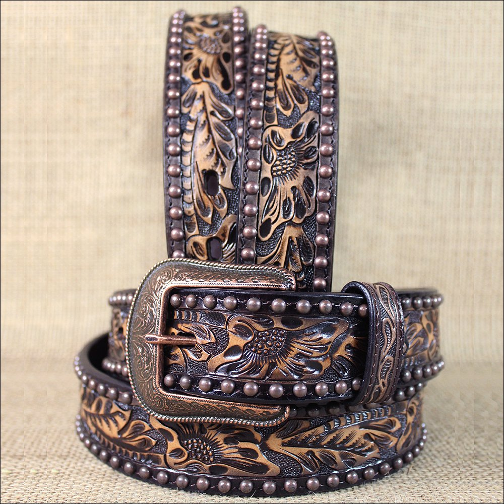 "32x1 1/2"" 3D NATURAL FLORAL MENS WESTERN FASHION LEATHER BELT REMOVABLE BUCKLE"