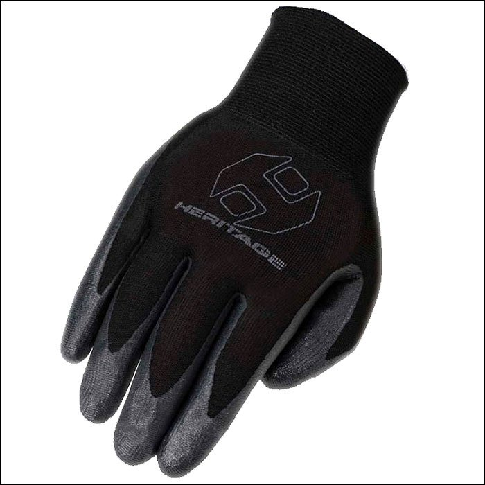 SIZE 06 BLACK HERITAGE UTILITY WORK RIDING GLOVES HORSE EQUESTRIAN