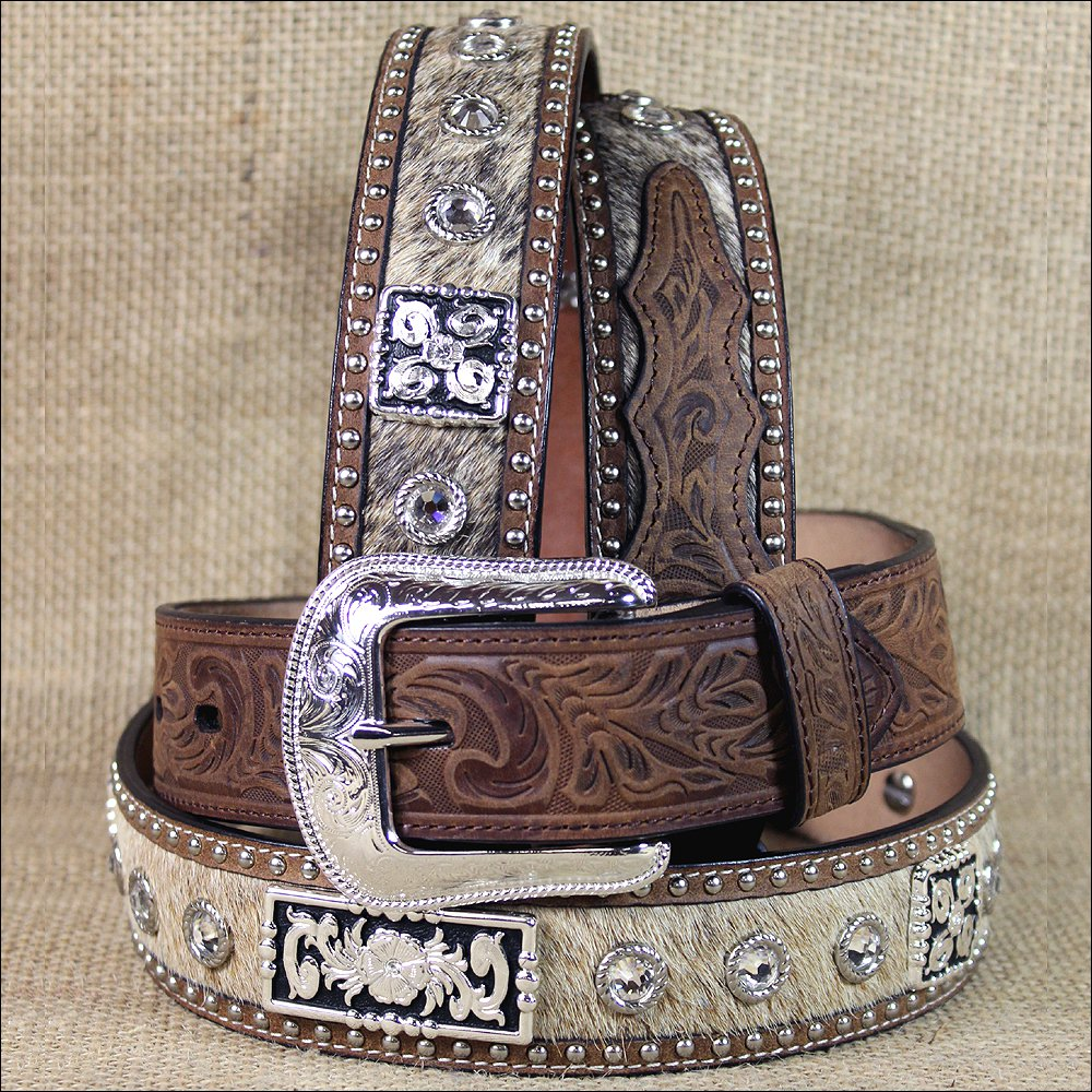 "32 X 1 1/2"" 3D BROWN MENS SILVER CONCHO WESTERN FASHION LEATHER HAIR ON BELT"