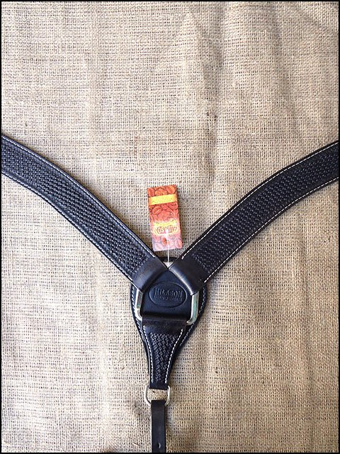 HILASON WESTERN BASKET WEAVE LEATHER HORSE BREAST COLLAR BLACK