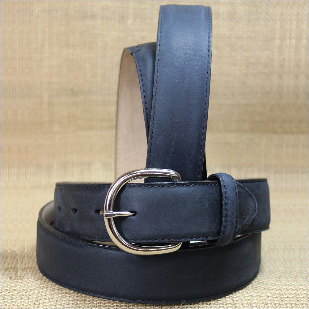 "42"" SILVER CREEK CLASSIC WESTERN BLACK LEATHER MEN BELT 1-3/8"" Wide"