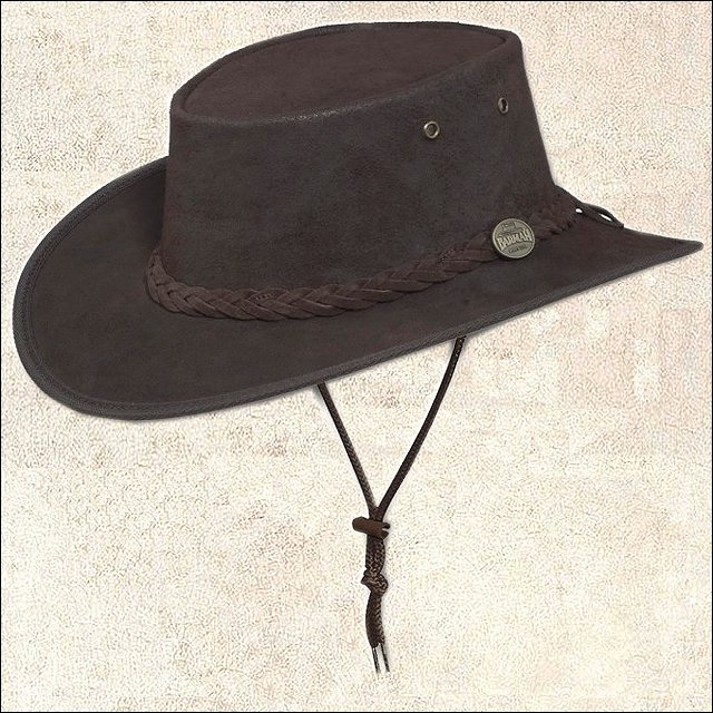 XX LARGE BARMAH FOLDAWAY SADDLER HAT FULL GRAIN COW LEATHER UV RESISTANT BROWN