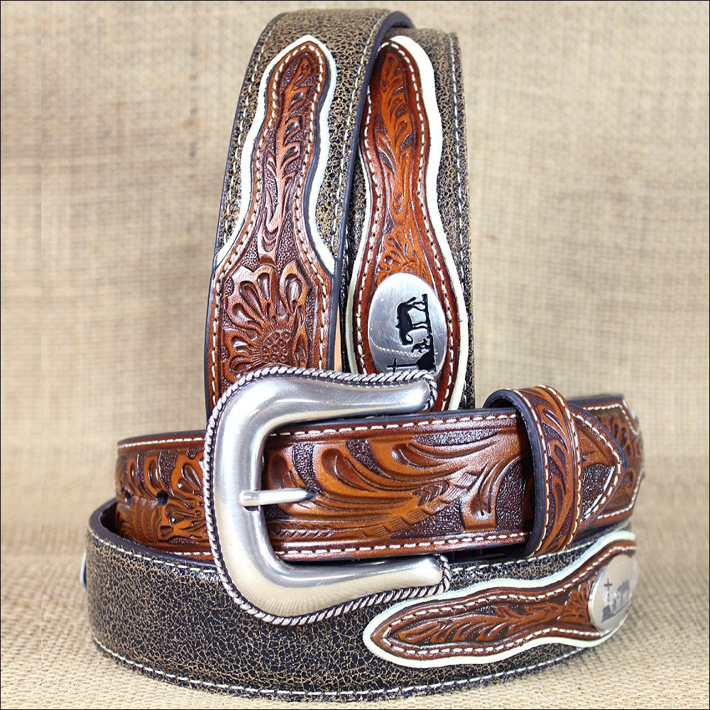 34 INCH WESTERN NOCONA MENS BELT COWBOY PRAYER CONCHO DARK CHOCOLATE