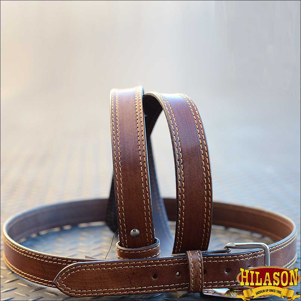 HILASON HAND MADE HEAVY DUTY BUFFALO LEATHER STICHED BELT BROWN