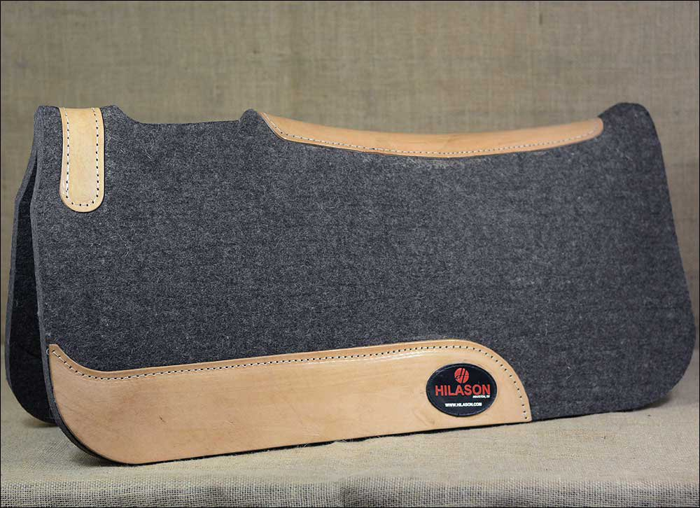 FP103-F HILASON WESTERN GREY WOOL FELT SADDLE PAD W/ LEATHER BORDER