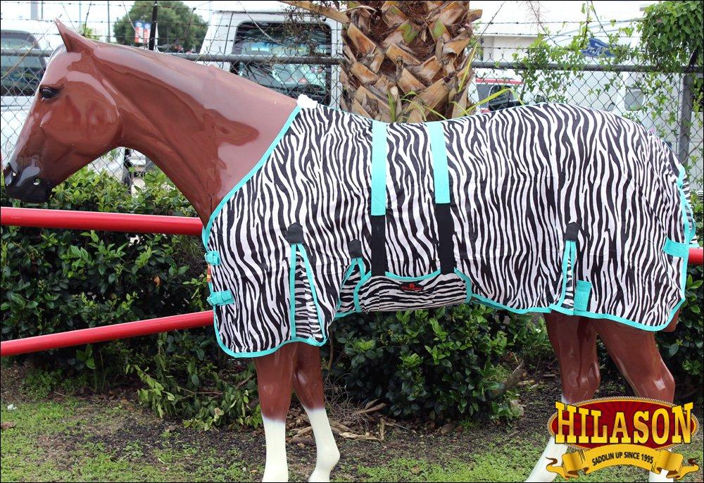 "74"" HILASON UV PROTECT AIRFLOW MESH HORSE FLY SHEET W/ BELLY STRAP ZEBRA"