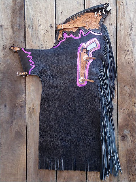 CH807F- HILASON BULL RIDING SOFT SMOOTH LEATHER PRO RODEO WESTERN CHAPS BLACK