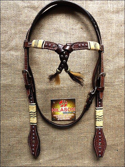 NEW HILASON WESTERN LEATHER RAWHIDE BRAIDED HORSE BRIDLE HEADSTALL - DARK BROWN